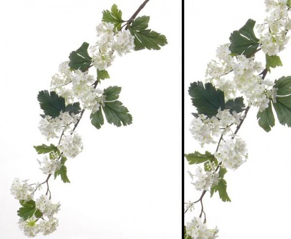 Kunstblume Schneeball Zweig creme farbige Blüten, Länge 86cm