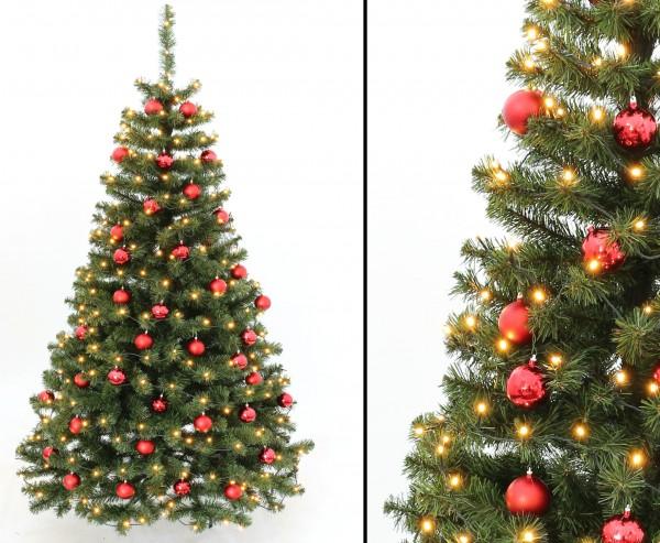 Tannenbaum schwer entflammbar mit roten Kugeln und Beleuchtung Höhe 180cm