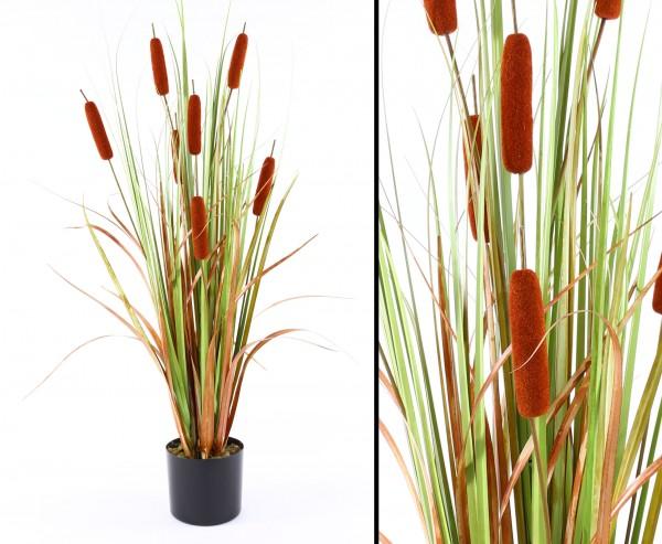 Schilfrohr Kunstpflanze mit 7 braunen Binsen 120cm hoch