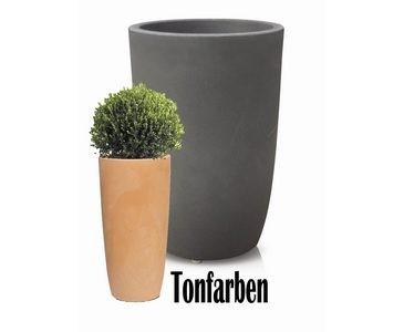 Blumenkübel rund aus Kunststoff Tonfarben, UV und Frost beständig, A1 Durch. 30cm, Höhe 45cm