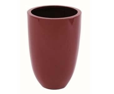 Übertopf rot glänzend, runde From aus Kunststoff mit Aluminium verstärkt, A1 Durch. 33cm, Höhe 49cm