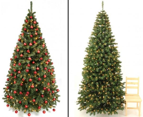 Geschmückter künstlicher Weihnachtsbaum 270cm mit roten Kugeln und LEDs, schwer entflammbar