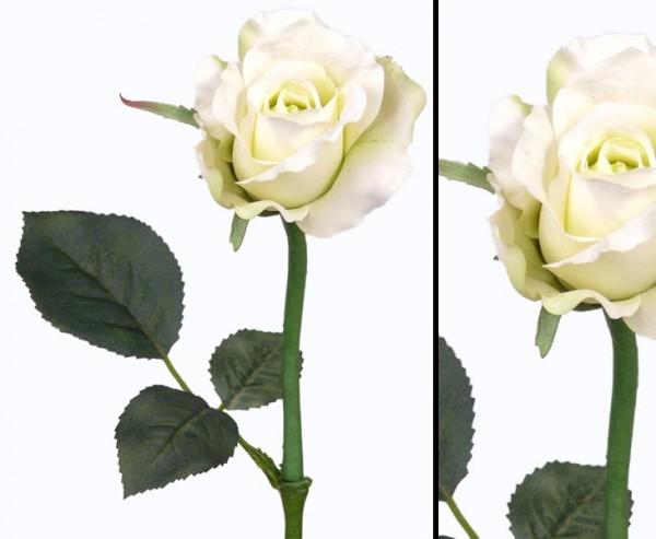 Kunstblume Rose Alice, weiß grüne Blüte Länge 30cm