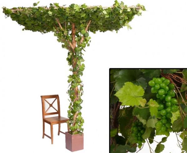 Künstlicher Weinstock 240cm hoch mit 2856 Blättern und 28 Weinreben
