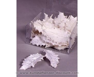 Künstliche Blätter weiß, samtartig glänzend, Box mit 24 Stück