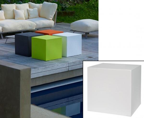 Kube Würfel weiß zum Sitzen oder als Tisch 40x40cm aus Kunststoff für Innen- und Außenbereich