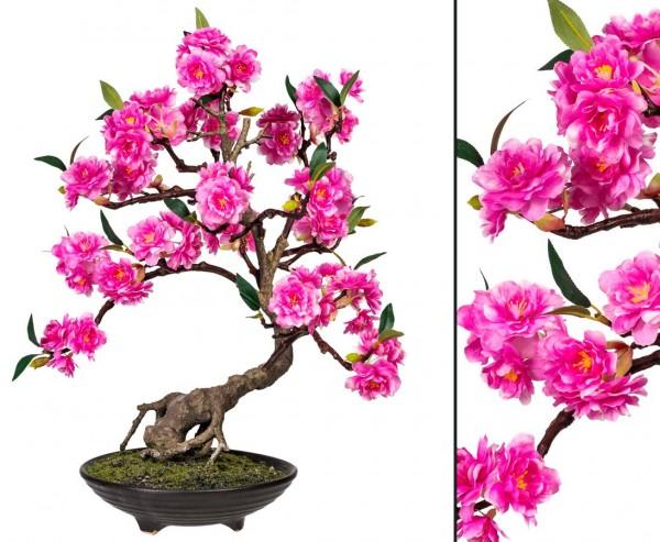 Rosa blühender Bonsai Kunstbaum mit 50cm