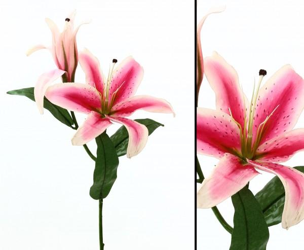 Künstliche Lilie Casablanca 80 cm hoch mit Rosa Blüten