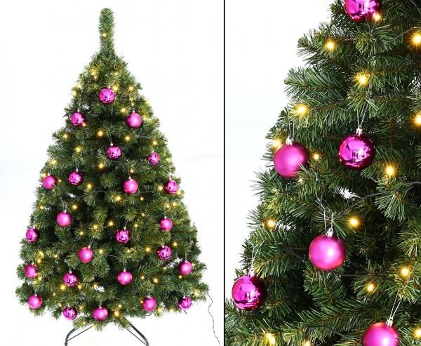 """Tannenbaum """"Maria"""" mit 24 Lila Kugeln und Beleuchtung Höhe 150cm B1"""