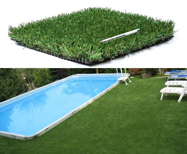"""Künstliches Gras als Matte 40mm mit 2,5x2m für Boden """"Siena"""", UV beständig"""