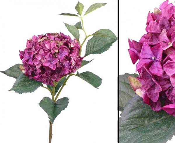 Hortensien Kunstblume mit 105cm, violett rosafarbiger Blütenkrone