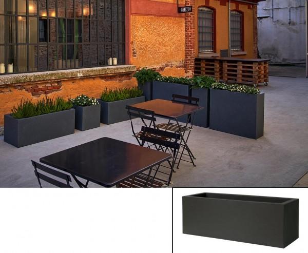 Pflanzkasten schwarz als Kube mit 80x30x30cm aus Kunststoff zur Bepflanzung