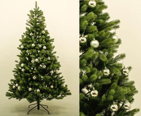 Spritzguss Christbaum mit silbernen Kugeln und 498 Tips schwer entflammbar, Höhe 150cm