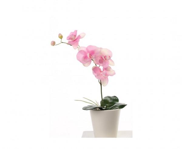 Orchidee künstlich mit 4 rosa farbigen Blüten und 3 Blättern, Höhe ca. 44cm