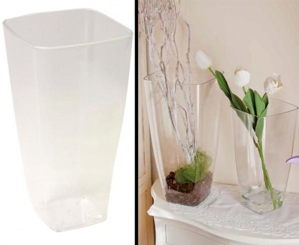 Blumenvase transparent mit 10x10cm 19cm hoch, aus Kunststoff
