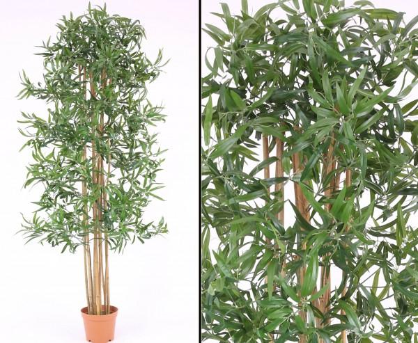 Bambus Kunstbaum, Multistamm mit Topf, Textilblätter, 210cm
