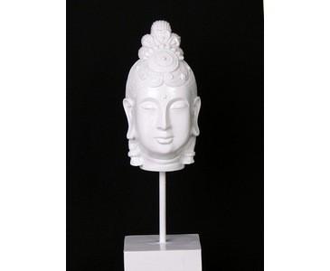 Buddha Kopf klein, aus weißem Polyresin Material, Höhe 41cm