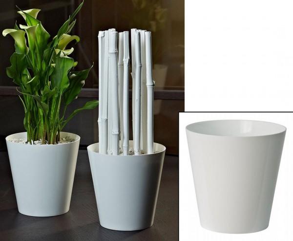 Blumenvase weiß mit 14x14cm aus PP für Kunstblumen und Kunstpflanzen