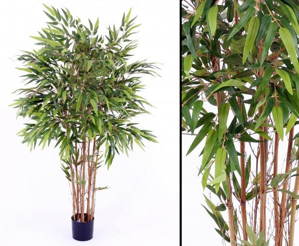 Bambus Kunstbaum mehrstämmig mit 1440 Blätter Höhe ca. 150cm, mit Topf