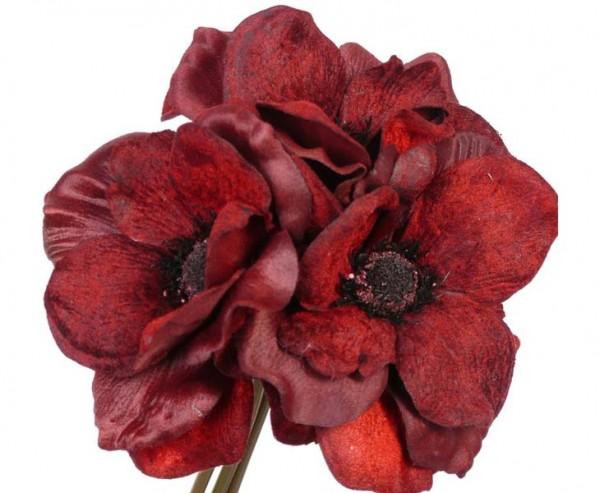 Kunstblumen Bukett mit Anemonen, 3 rotfarbige Blüten, Länge 20cm