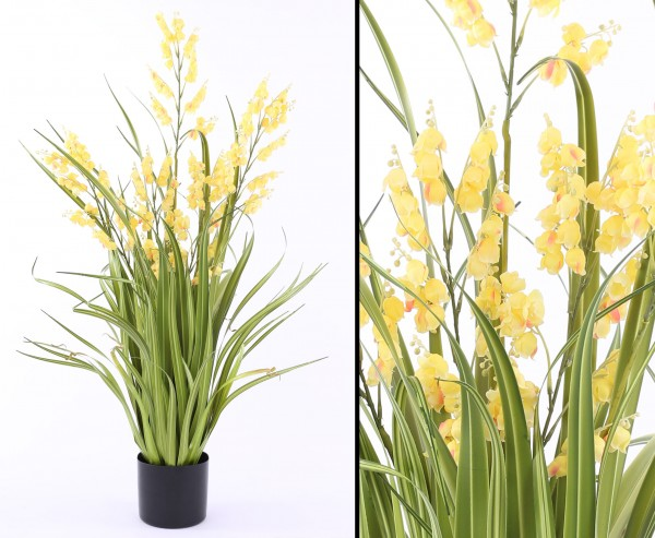 Künstliche Glockenblume mit gelben Blüten und Gras 105cm