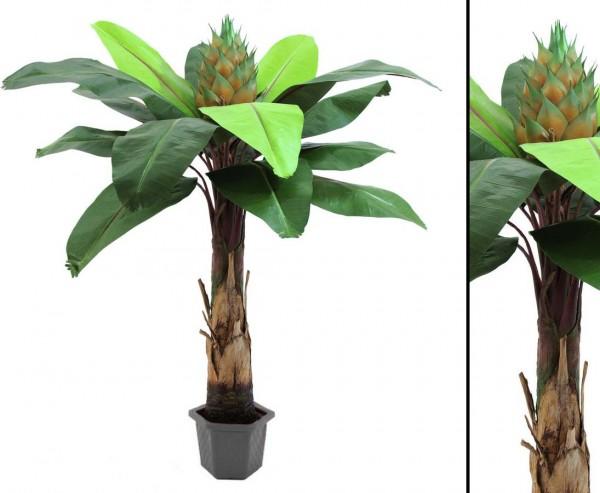 Königsstrelizie Kunstpflanze mit 15 Blätter im Topf Höhe 180cm