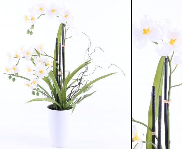 Kunstpflanzen Orchideen Arrangement weiß mit Topf 70cm