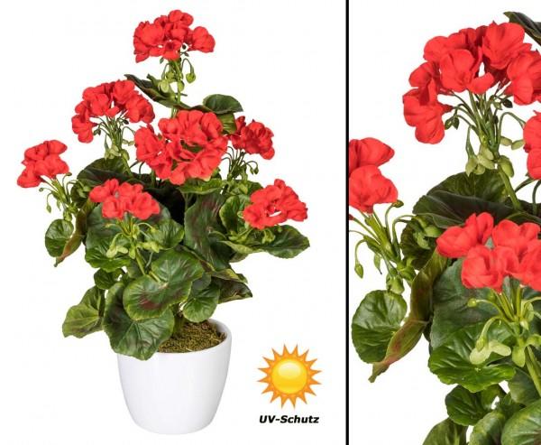 Kunstpflanze Geranie rot blühend UV-Beständig mit 40cm