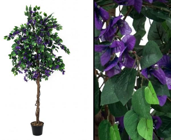 Bougainvillea Dekobaum mit lavendel farbige Blüten Höhe 150cm mit Zementfuß