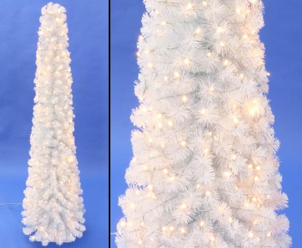 Künstliche weiße Christbaumsäule Kasan 180cm mit LED Lichterkette PVC Nadeln in B1