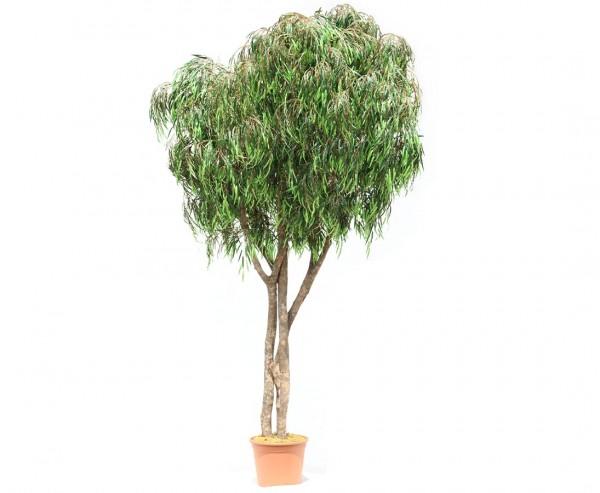 Weiden Kunstbaum 300cm mit 4592 Textilfaser Blätter UV-sicher und Naturstämmen im Topf