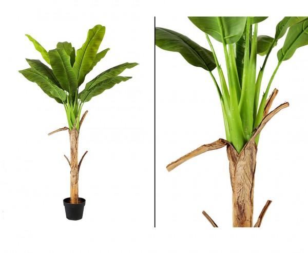 Bananen Kunstpalme 150cm mit 1 Stamm und 12 Blätter