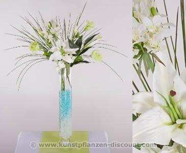 Schmucklilien Arrangement, weiß-grün, Höhe 83cm