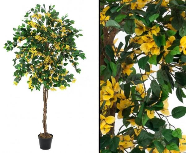 Kunstbaum Bougainvillea mit gelben Blüten Höhe 180cm mit Zementfuß