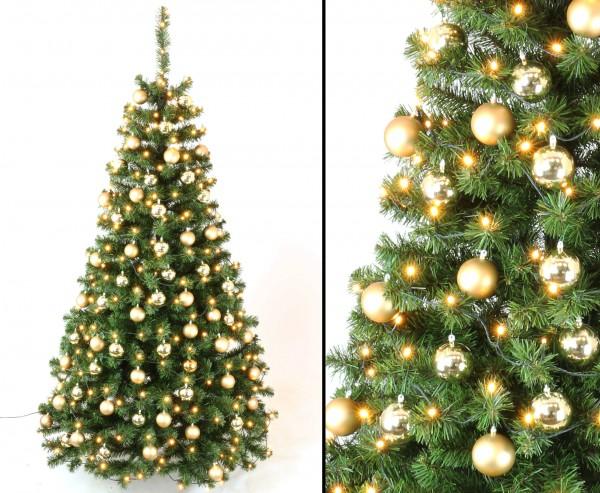 Künstliche Weihnachtsbäume mit Christbaumkugeln gold und LEDs, Höhe 210cm, schwer entflammbar