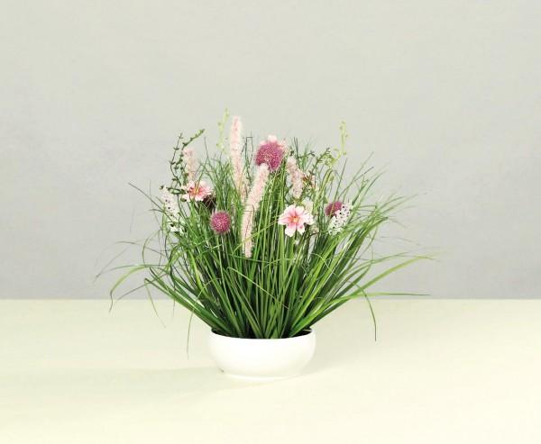 Wiesen Kunstblumen Arrangement pink-lila farbig in runder Schale mit 40cm