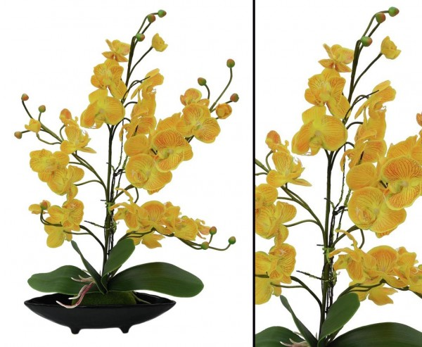 Orchideen Kunstblumen Arrangement mit gelben Blüten 60cm, schwarze Dekoschale