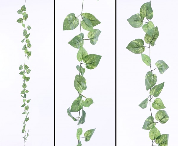 Pothos Kunstpflanzen Girlande mit 48 hell-dunkelgrünen Blättern 180cm
