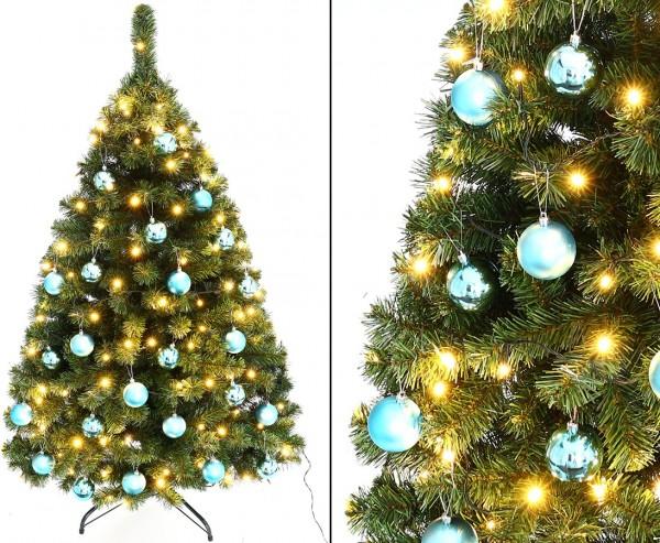 """Weihnachtsbaum 150cm """"Maria"""" mit 24 petrol farbigen Kugeln und Beleuchtung"""