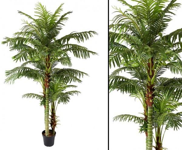 Arekapalme Hawaii 235cm künstliche Palme mit 45 Wedeln und 3 Stämme