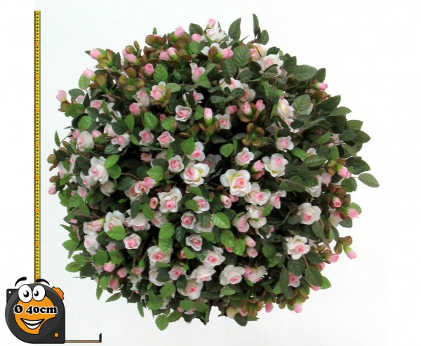 Rosenkugel Kunstpflanze mit kleinen rosa- weißen Blüten Ø 40cm Kern aus EPS Masse