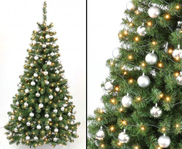 Künstliche Weihnachtsbäume 210cm mit Christbaumkugeln silber und LEDs, schwer entflammbar