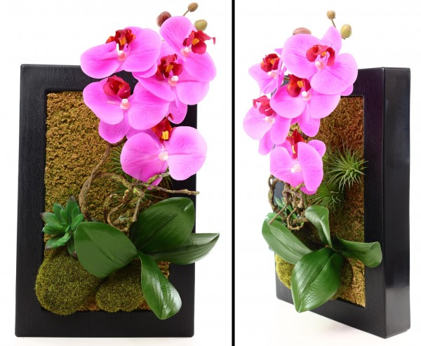 Wandbild mit Orchidee violetten Blüten im schwarzen Metallrahmen
