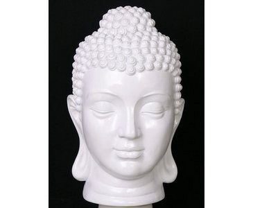 Buddha Kopf, mit 39x20x20cm, weiß aus Polyresin Material