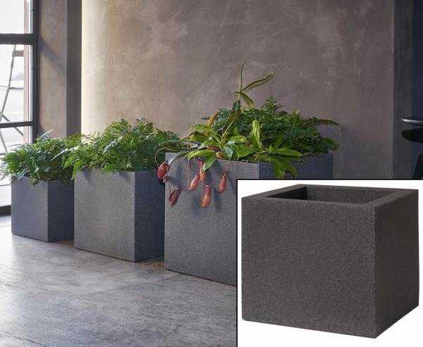 Übertopf als Cube im Granit Style mit 30x30cm aus Kunststoff zur Bepflanzung