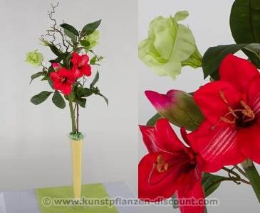 Blumengesteck Prärieglocken, rot, Höhe 80cm