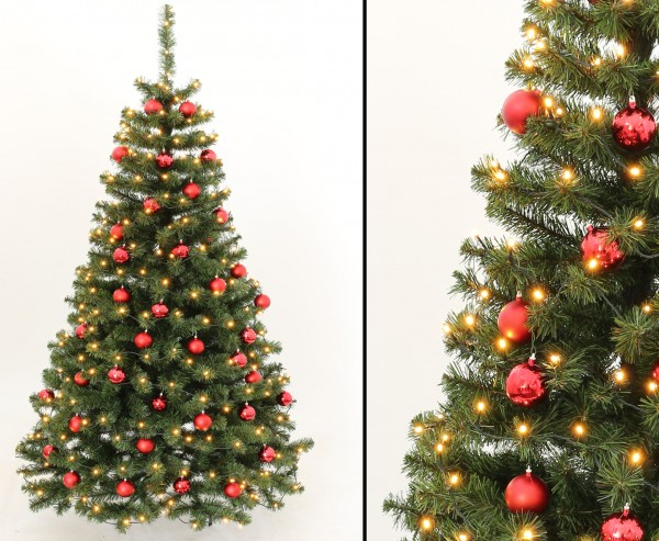 Künstlicher Weihnachtsbaum Mit Beleuchtung.Tannenbaum Schwer Entflammbar Mit Roten Kugeln Und Beleuchtung Höhe 180cm