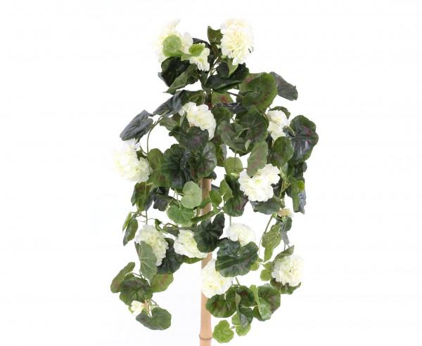 Kunstblume Geranie hängend mit 22 weißen Blüten und 128 Blätter, 70cm