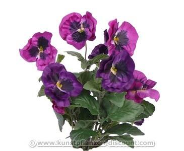 Stiefmütterchen Kunstblumen Busch mit 7 violetten Blüten, 33cm