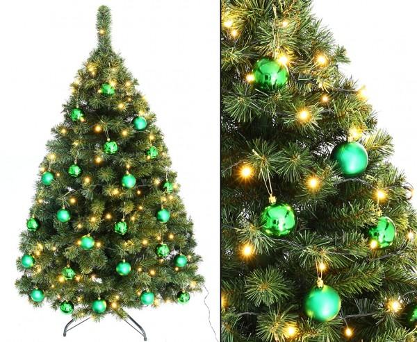 """Tannenbaum """"Maria"""" mit 24 grünen Kugeln und Beleuchtung Höhe 150cm B1"""